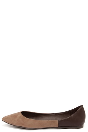Tasha 24 Natural Brown Two-Tone Pointed Flats