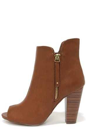 Sheela 11 Tan Peep Toe Booties