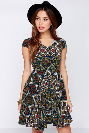 Hola Chic-a Green Multi Print Dress