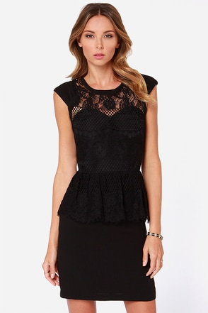 Table for Two Black Lace Peplum Dress at Lulus.com!