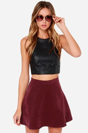 Sweet Disposition Burgundy Mini Skirt