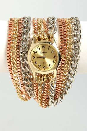 Basic Chain-ing Gold Wraparound Watch