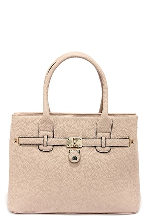 Locked and Loaded Beige Handbag