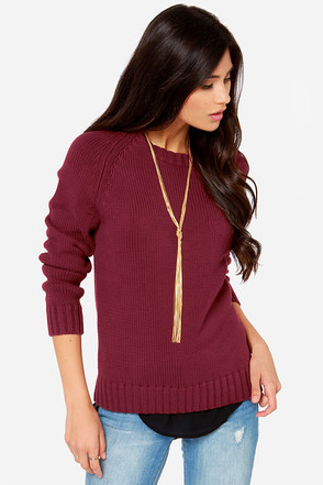 Rhythm Camp Out Burgundy Sweater at Lulus.com!