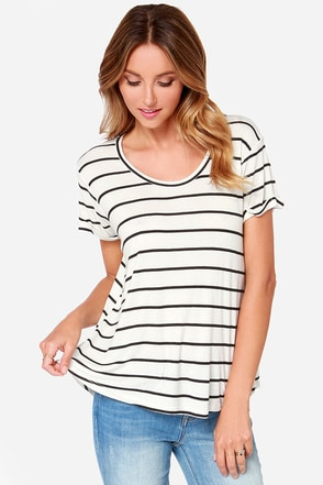 Volcom Lived in Ivory Striped Short Sleeve Top