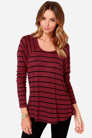 Volcom Lived in Burgundy Striped Long Sleeve Top