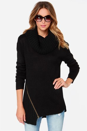 Fifty Fifty Split Black Knit Sweater