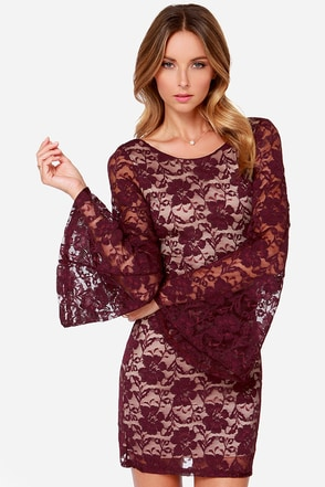 LULUS Exclusive Bell Me Why Burgundy Long Sleeve Dress