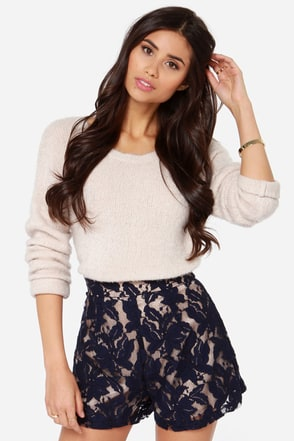 A Lace for Everything Navy Blue Lace Shorts at Lulus.com!