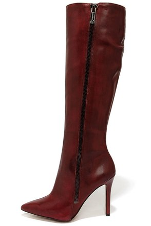 Jessica Simpson Capitani Oxblood Leather High Heel Boots