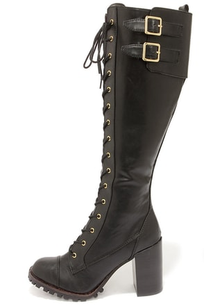 Report Signature Astrid Black Lace-Up Knee High Heel Boots