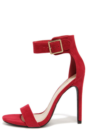 My Delicious Canter Lipstick Red Ankle Strap Heels at Lulus.com!