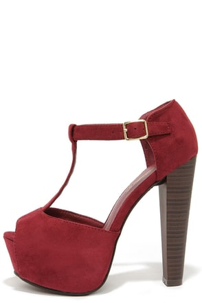 Brina 01W Wine Red T-Strap Peep Toe Platform Heels at Lulus.com!