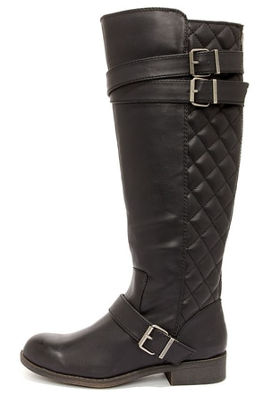 Madden Girl Calinda Black Quilted Riding Boots at Lulus.com!