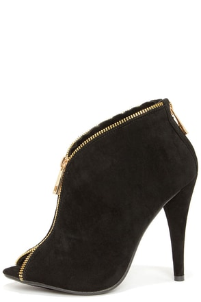 Zip This Black and Gold Zipper Peep Toe Booties