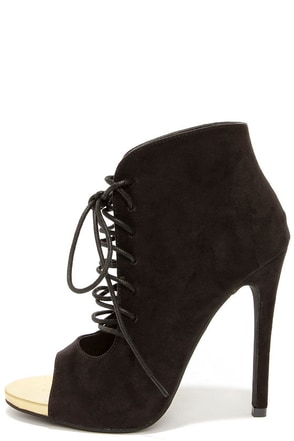 Zsa Zsa Black Peep Toe Lace-Up Booties