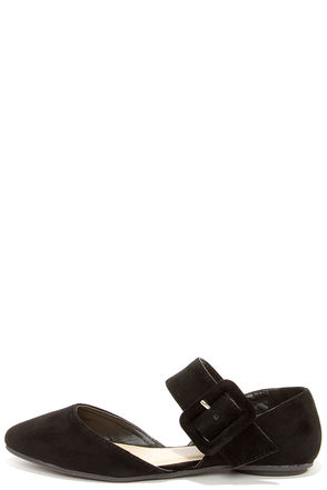 Bandita Black Buckled D'Orsay Flats
