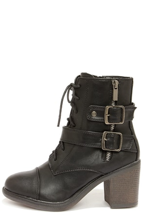 Buckleby Black Heeled Mid-Calf Boots