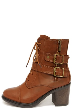 Buckleby Chestnut Brown Heeled Mid-Calf Boots
