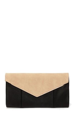 Signed Sealed Delivered Beige and Black Clutch