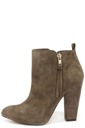 Steve Madden Jannyce Taupe Suede Leather Ankle Boots at Lulus.com!