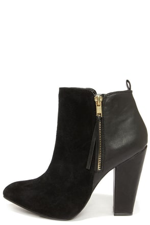 Steve Madden Jannyce Black Suede Leather Ankle Boots