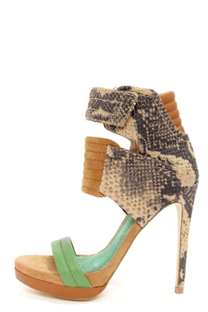 Mia Limited Edition Rocco Green Lizard High Heel Sandals