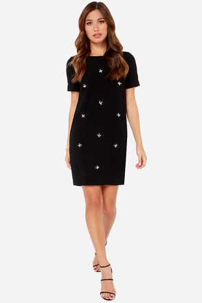 Darling Halle Black Beaded Shift Dress
