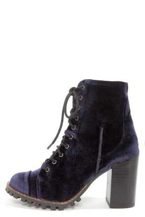 Report Signature Allon Navy Blue Velvet High Heel Booties