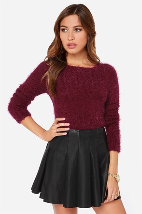 Soft Servin' Fuzzy Burgundy Cropped Sweater