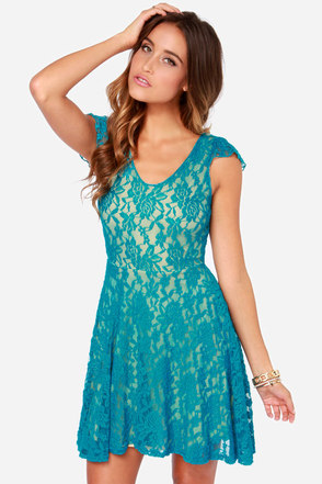 LULUS Exclusive Made to Love Teal Lace Dress