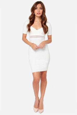 Don't Mesh Around Ivory Midi Dress