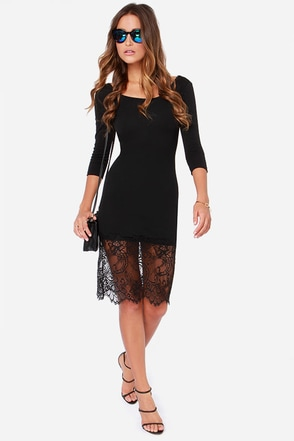 Daring Darling Black Lace Midi Dress