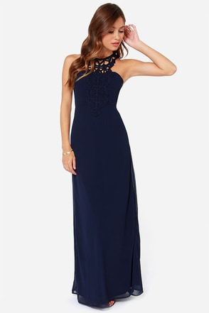 LULUS Exclusive Gala's Best Friend Navy Blue Maxi Dress