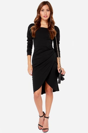 Daydream Black Long Sleeve Midi Dress at Lulus.com!
