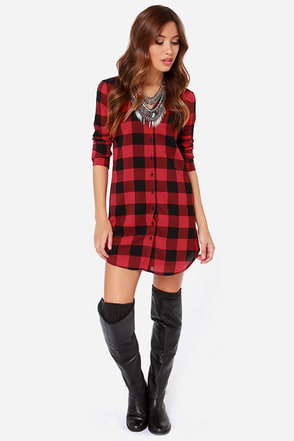 BB Dakota Suzett Red Plaid Shirt Dress