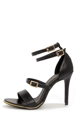 Shoe Republic LA Gemini Black Ankle Strap Heels