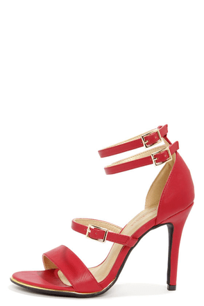 Shoe Republic LA Gemini Red Ankle Strap Heels