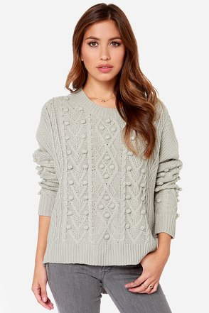 Pom Sweet Pom Knit Grey Sweater at Lulus.com!