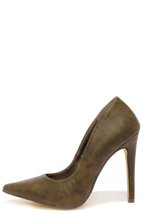 Michael Antonio Lamiss Olive Green Pointed Pumps