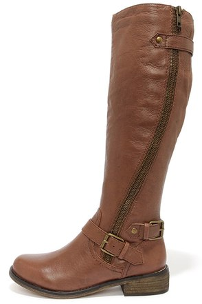 Steve Madden Synicle Brown Leather Buckled Knee High Boots at Lulus.com!