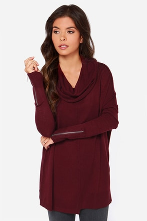 Seams About Right Burgundy Sweater