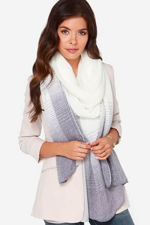 Weather the Storm Ivory and Dusty Purple Striped Scarf