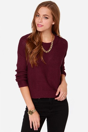 Lay It on the Line Burgundy Sweater