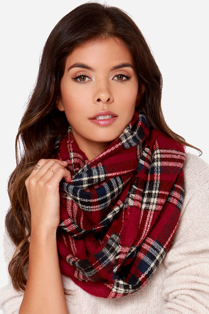 Bench Warmer Orange Plaid Infinity Scarf