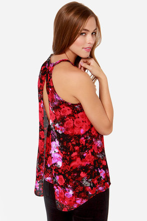BB Dakota Anitra Red Floral Print Halter Top