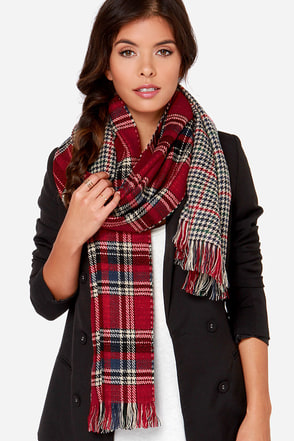 Going On Holiday Red Plaid Scarf