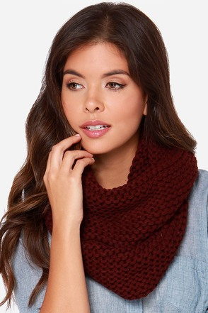 Windy City Burgundy Knit Infinity Scarf at Lulus.com!