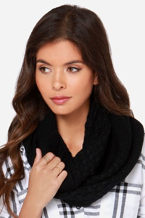 Knits a Beautiful Day Black Knit Infinity Scarf