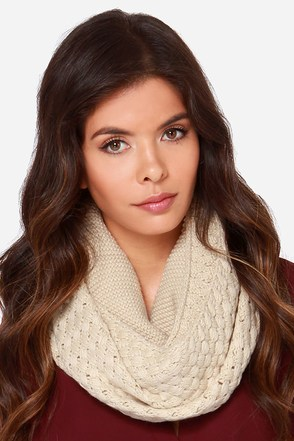 Knits a Beautiful Day Beige Knit Infinity Scarf